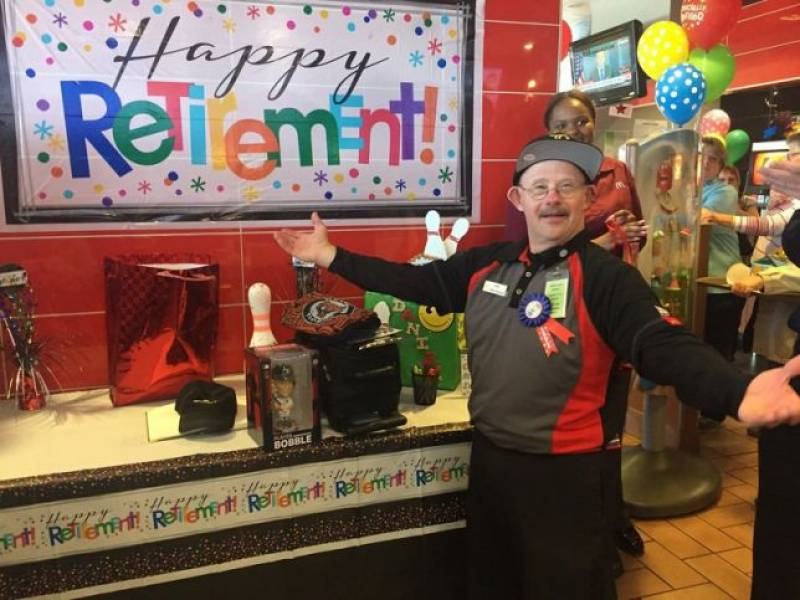 McDonald's throws surprise party for employee with Down's Syndrome as he retires after 33 years